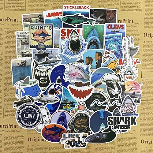 YUHANG Jaws Sticker Big White Shark Tide Brand Computer Mobile Phone Helmet Decoration Waterproof Suitcase Trolley Case Travel Case Sticker 50Pcs