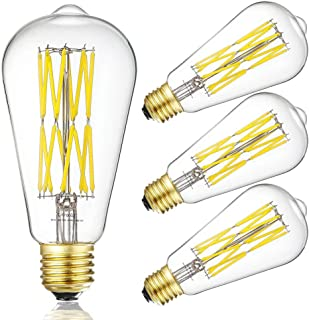 Vintage LED Edison Bulb Dimmable 15W Led Filament Light Bulb ST64 1300 Lumen 4000K Daylight White 100-120 Watt Incandescent Equivalent E26 Base Decorative Antique Lamp for Home Bathroom Bedroom 4 Pack
