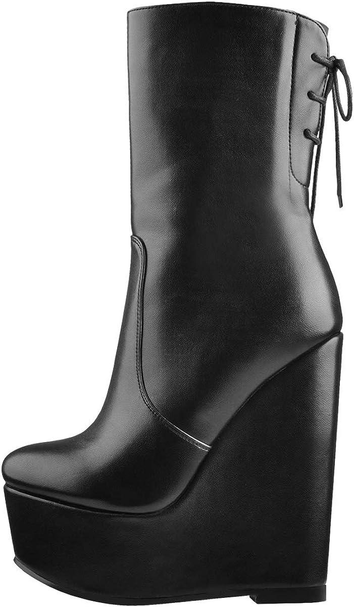 LISHAN Women's Platform Ankle Boots Wedges Goth Combat Boots