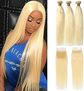 Sponsored Ad - Dorabeauty Blonde Hair 4×4 Lace Closure with 3 Bundles Platinum Blonde #613 100% Brazilian Human Hair (ST 2...
