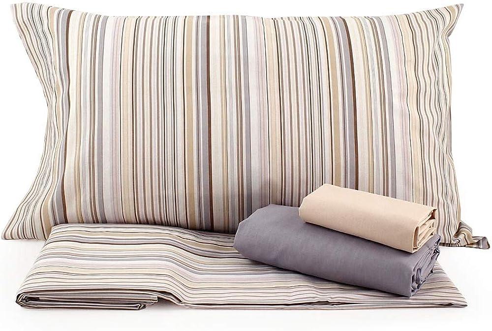 Bassetti,completo letto matrimoniale ,lenzuolo sopra,lenzuolo sotto,piu` 4 federe,in puro cotone al 100 % Endless VAR