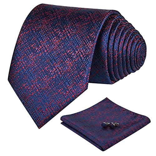 FAIMO Corbata Hombre Pañuelo Corbata Boda Conjunto Gemelos Seda Pañuelo Negocio Elegante Estilo Casual Corbata Azul Rojo