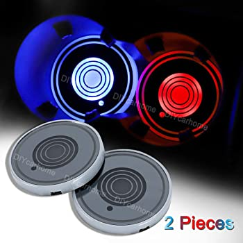 7 Colors Changing USB Charging Mat Luminescent Cup Pad LED Interior Atmosphere Lamp,We are The Most Loyal Fans 2pcs LED Car Cup Holder Lights for Boston Red Sox