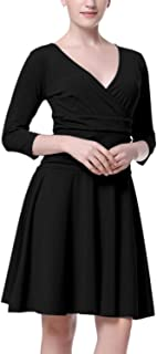 Mixfeer Women's Casual Ruched Dress Slimming Long Sleeve Cross V Neck Cocktail Party Dress