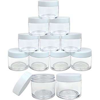 (Quantity: 12 Pieces) Beauticom 30G/30ML (1 Oz) Round Clear Jars with White Lids for Lotion, Creams, Toners, Lip Balms, Makeup Samples - BPA Free