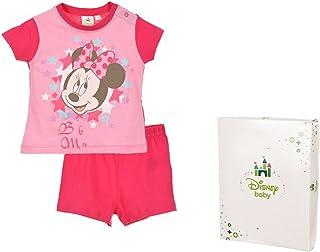 Conjunto de pijama corto, con caja de regalo para bebé, diseño de Minnie de 12 a 30 meses rosa rosa Talla:12 meses