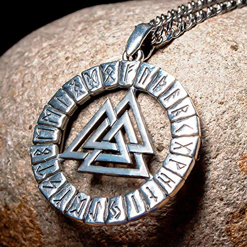 Valknut Pendant Necklace 925 Sterling Silver-Triangle Viking Odin Knot in Runic Circle-Norse Celtic Jewelry for Men Women-Nordic Rune Amulet Talisman-Handmade