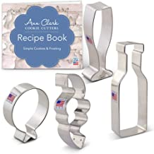 Ann Clark Cookie Cutters 4-Piece New Year's Celebration Cookie Cutter Set with Recipe Booklet, Balloon, Confetti, Champagne Glass and Champagne