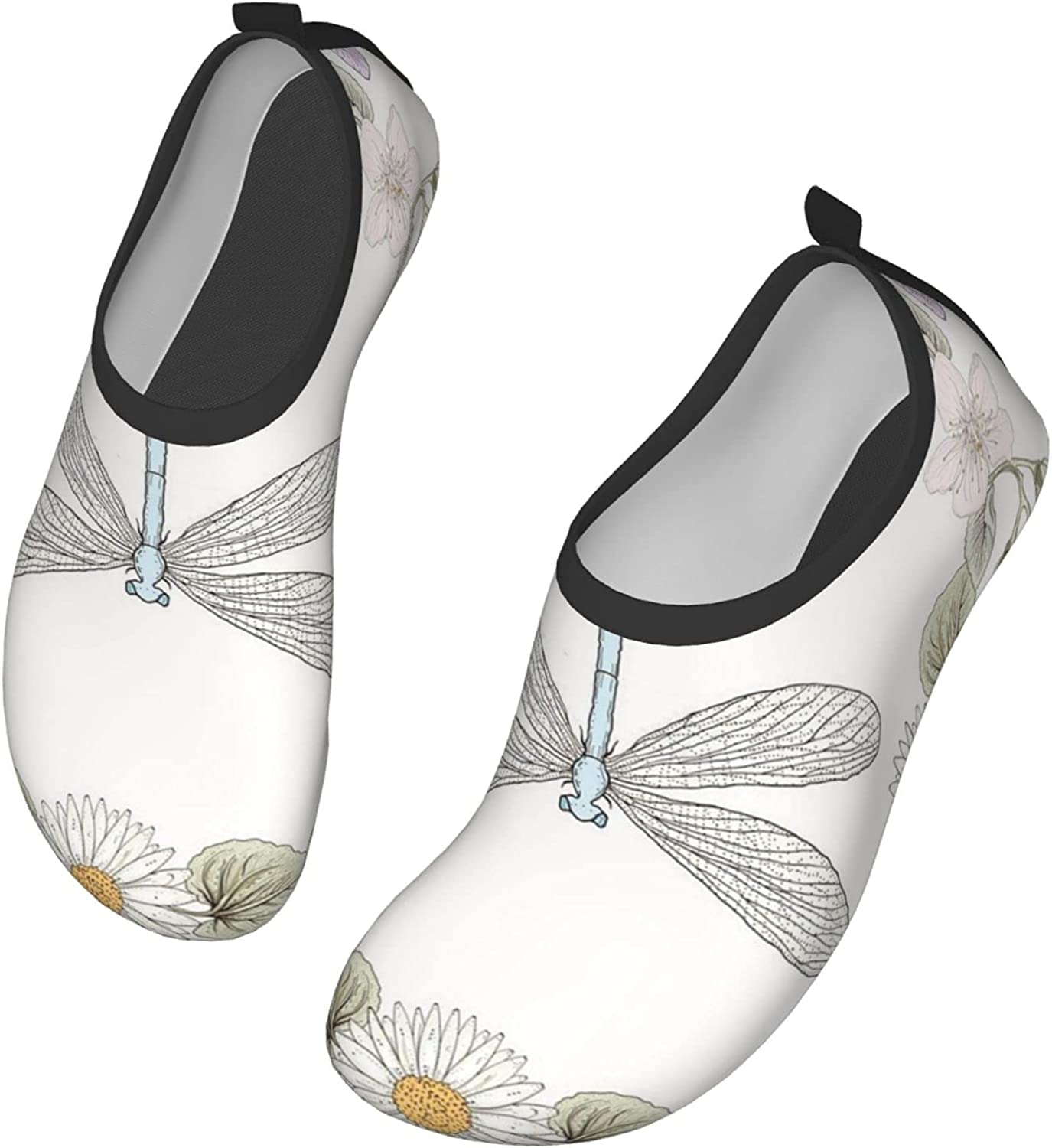 Dragonfly Shower Curtain, Vintage Retro Farm Life Inspired Moth and Daisy Lily Leaf Image Water Shoes for Women and Men