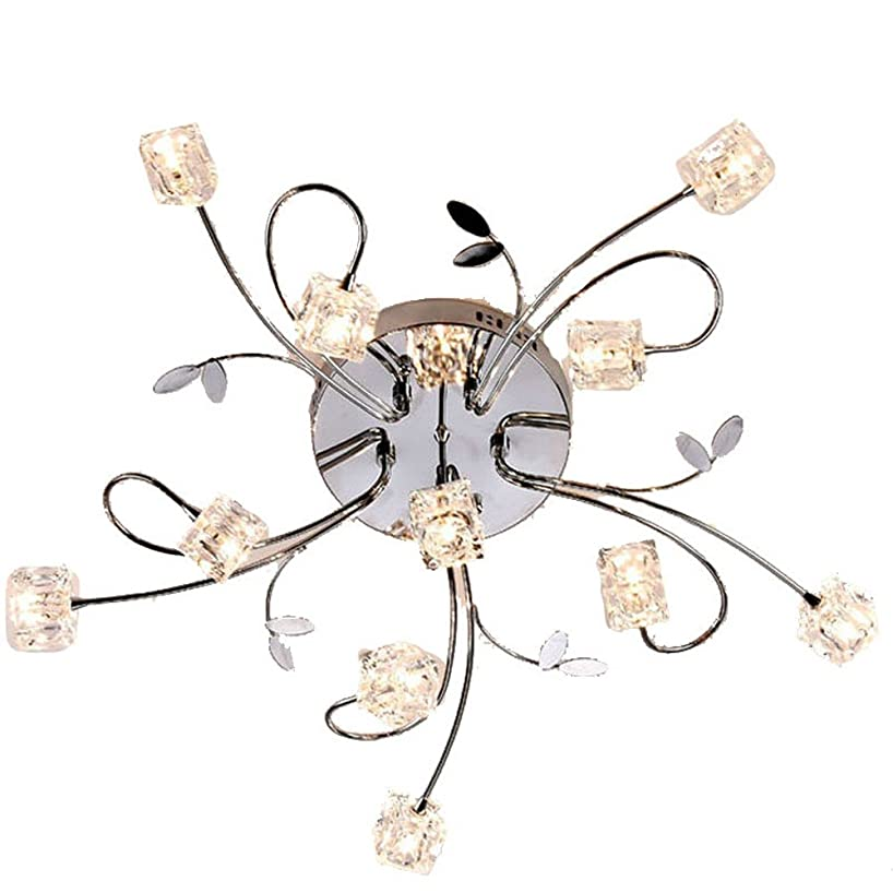 MAMEI Flush Mount Modern Dimmable Ceiling Chandelier Lighting with 11 Lights LED Bulbs and Remote Controller Included