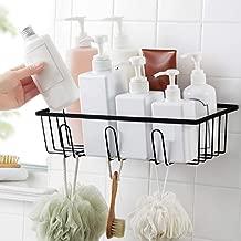 Luvina Adhesive Bathroom Shower Caddy Mental Bath Shelf Storage Basket No Damage Basket with Front Hooks for Kitchen,Bathroom-Black