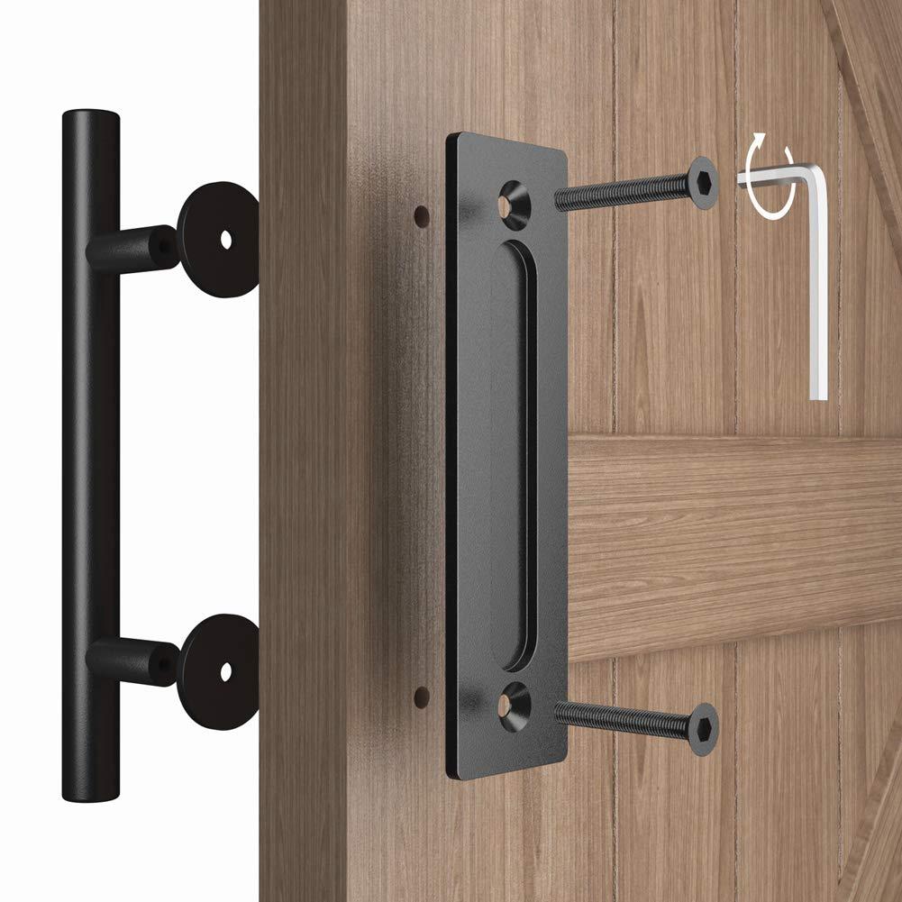 Haritoft Upgrade - Juego de tirador y tirador para puerta corrediza de granero (30,5 cm), color negro: Amazon.es: Bricolaje y herramientas