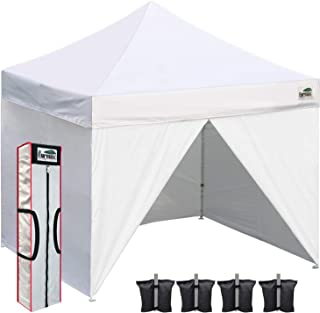 Eurmax 10x10 Ez Pop up Canopy, Commercial Party Tent, Outdoor Shelter with 4 Zippered Sidewalls and Carry Bag