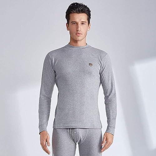 QZHE Sous-vêteHommest thermique homme Chemise d'hiver Thermique en Coton à Col Montant Et à Pantalons pour Hommes Longs Pyjama pour Hommes