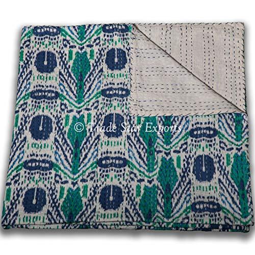 Trade Star Kantha - Colcha de 150 x 225 cm, hecha a mano étnica cosida a mano, 100% algodón, colcha reversible, manta individual para sofá, cama (patrón 7)