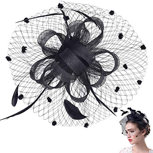 Retro Fascia Piuma Cappello Fiore Clip del Cappello di Matrimonio Accessori per Capelli da SposaCappello Veil Looped Strips Fiore Piuma Hat Wedding