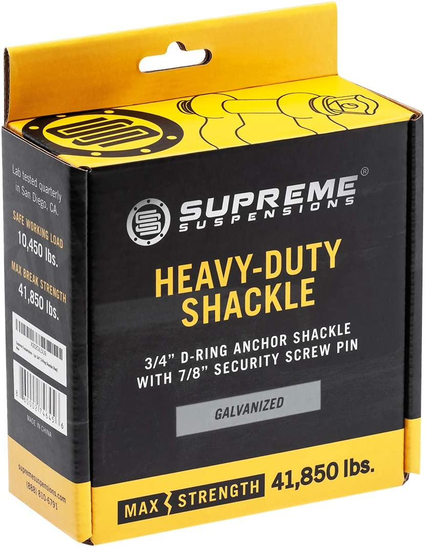 Supreme Suspensions Galvanized Universal Recovery Gear | Max Break Strength 41,850 lbs Heavy-Duty Forged Steel 3//4 D-Ring Shackles Screw-Pin Design