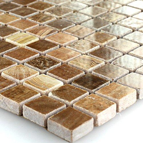 Marmor Mosaik Naturstein Mosaik Fliesen Braun Poliert für Wandfliesen Küchenrückwand Badezimmer Fliesenspiegel Duschwand Bad