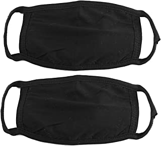 uxcell® 2 Pcs Cotton Blend Anti Dust Face Mouth Mask Black for Man Woman