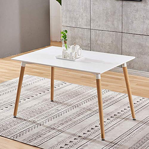 YVX White Rectangle Dining Table for 2-6 Persons, Simple Home Office Table with Wood Legs for Dining Room Dinette Kitchen, 110cm