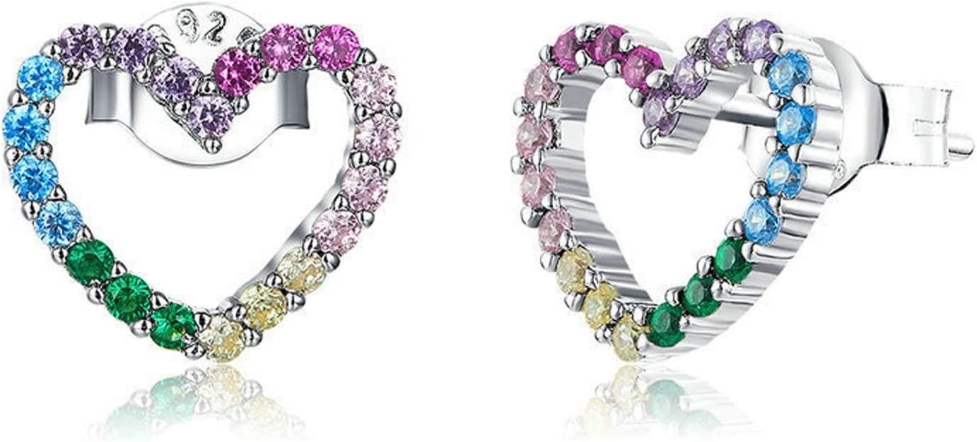 GaLon Ladies S925 Sterling Silver Rainbow Max 87% OFF Stud Heart Earrings Ultra-Cheap Deals
