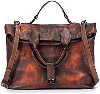 Fashion Trend Hand-Painted Cross-Section Square Fashion Individual Character Retro Wind Female Big Bag Diagonal Cross Bag Solid Color First Layer Leather Briefcase Bag 34 (Long) * 26 (high)