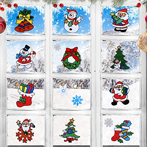 LEMESO 12 pz Adesivi Finestre di Natale Gel Decorazioni Natalizie Ornamenti Murali della Finestra, Parete Vetro Specchio Vetrofanie Decalcomania Stickers Casa Negozio Scuola Party