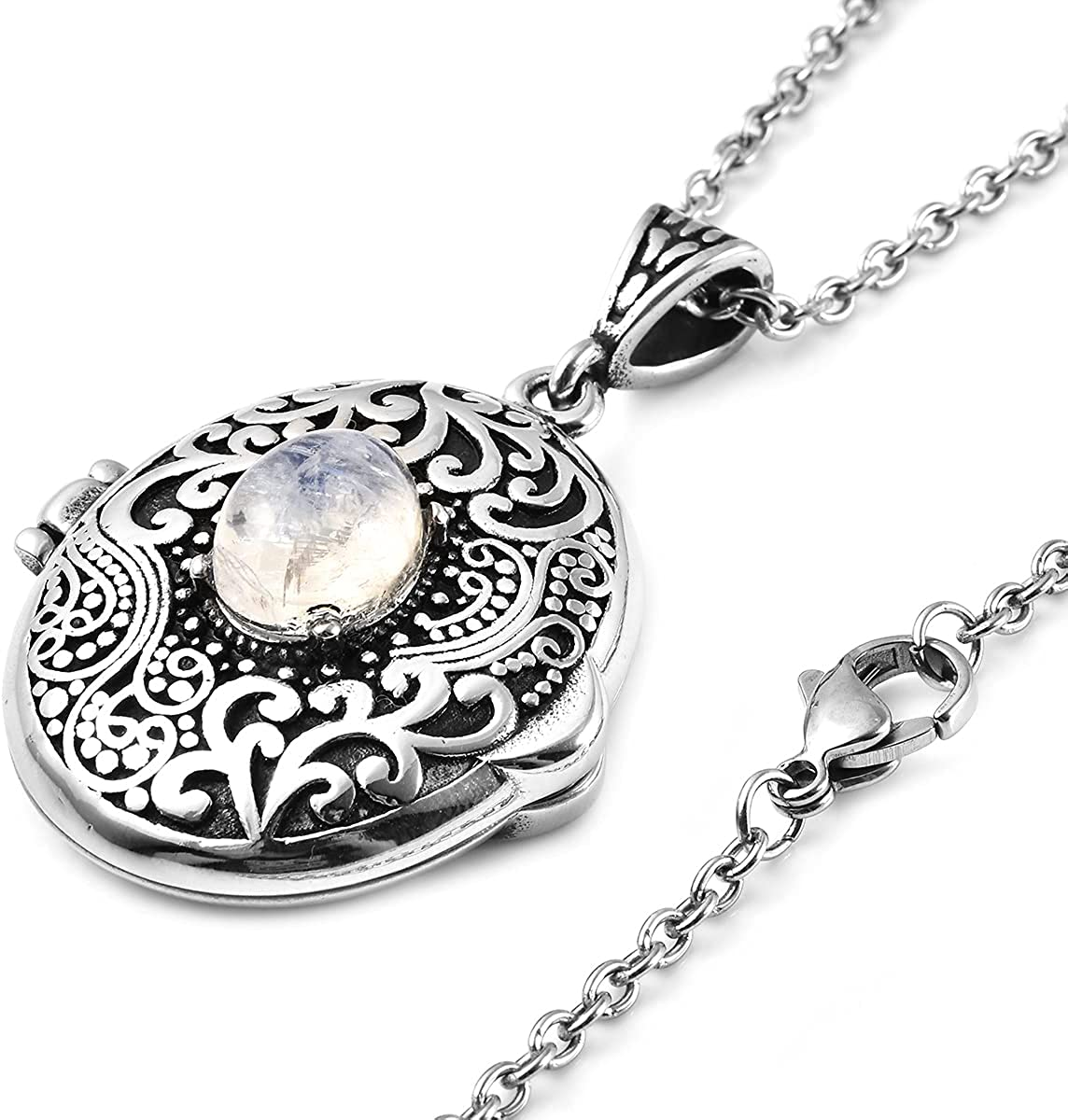 Shop LC Stainless Steel White Moonstone Locket Pendant Necklace 24'' Costume Stylish Delicate Jewelry Gifts for Her Unique Gifts for Women