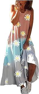 Sommerkleid für Frauen,Frauenkleid O-Neck Floral Bedrucktes ärmelloses Kleid
