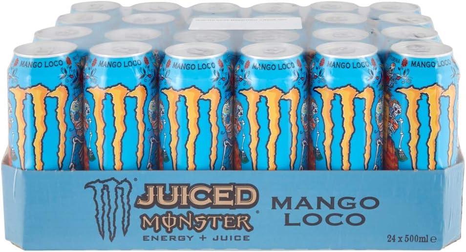 Monster Energy Mango Loco con zumo de mango, con ácido carbónico, paleta de bebidas energéticas 24 x 500 ml y adhesivo gratis