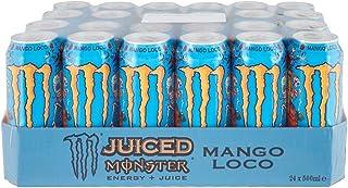 Monster Energy Mango Loco mit tropischen Mangosaft - mit Kohlensäure, Energy Drink 24 x 500 ml & Gratis Monster Aufkleber