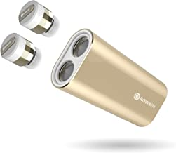 Rowkin Bit Charge Stereo: True Wireless Earbuds w/Charging Case. Bluetooth Headphones Smallest Cordless Hands-Free Mini Earphones Headset w/Mic & Noise Reduction for Android & iPhone (Gold)