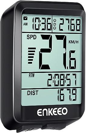 ENKEEO Ciclocomputador Cableado de Bicicleta, Cuentakilómetros Velocímetro, Velocidad Actual / AVG / MAX Tiempo / Distancia de Vieje