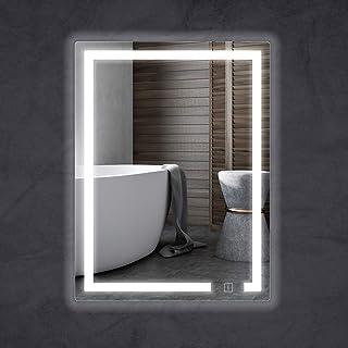 HAUSCHEN HOME 浴室鏡 LEDバスルーム 壁掛け ミラー、洗面ミラー 洗面台 化粧鏡 鏡 女優ミラー 高ルーメン+ CRI 95 色温度 調整可能 調光調色 照明付き もり止め 調光機能 IP44防水 横掛け縦掛け可能 (80*60cm)