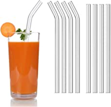 KeyZone Reusable Glass Drinking Straws Set for Milkshakes, Frozen Drinks, Smoothies, Bubble Tea, Juice