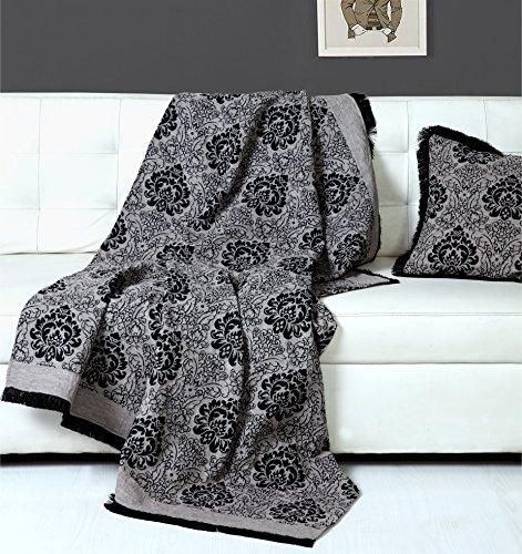 Damask Chenille Jacquard Slaapbank Eenpersoons Bed Deken Gooi, 125 X 150 cm - Smoke