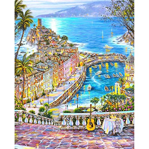 MAIYOUWENG Wooden Adult Jigsaw 1000 Piece Golden Coastal City Scenery Very Challenging Adult and Teen Casual Jigsaw Puzzle Large Size Puzzle