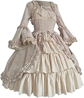 Women's Classic Lolita Princess Square Collar Skirt Ruffled Long Sleeve Bow Dress for Party Cosplay