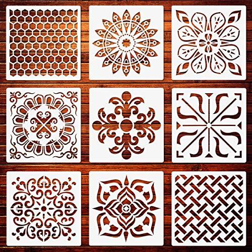 Bodenfliesen Schablonen Set, 20x20cm Mandala Fliesen Wabenschablonen Wiederverwendbare Malvorlage für Möbel Kamin Schrank Wand Holz DIY Projekte (9 Packungen)