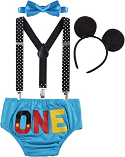 Cake Smash Outfit Baby Boys 1st Birthday Party Costume Newborn Infant Toddler Bloomers Shorts Pants + Adjustable Y Back Suspenders Braces + Bow Tie + Mouse Ears Headband Clothes for Kids Photo Shoot