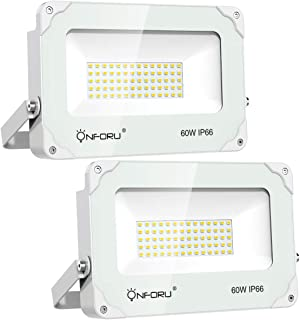 Onforu 2 Pack 60W LED Flood Light, 6000lm Super Bright Security Lights, 5000K Daylight White, IP66 Waterproof Outdoor Landscape Floodlight for Yard, Garden, Playground, Party. (White Housing)