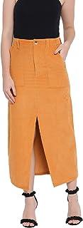 oxolloxo Women's Winter Wear Corduroy Skirt (Yellow)