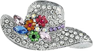 Bullidea 1X Fashion Personality Hat Women's Brooch Pin Rhinestone Covered Scarves Shawl Clip For Women Ladies(Silver)