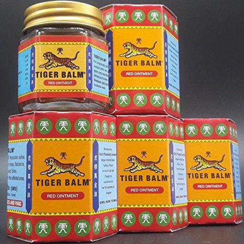 Paquete de 4 bálsamos de tigre, rojo y blanco, 30 g