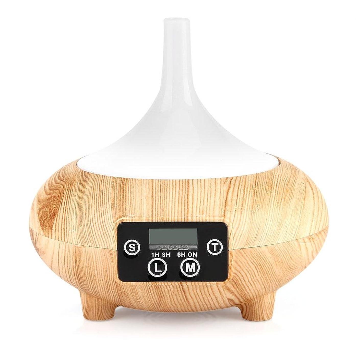 クラスおとなしい祝福する加湿器 アロマディフューザー LED時計 卓上加湿器 空気清浄機 空焚き防止機能搭載 色変換LED搭載 ミストモード 時間設定 木目調 おしゃれ 乾燥対応 SPA美容など適用(浅木纹)