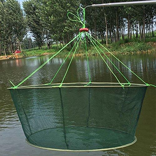 Portable Folded Fishing Net Fish Shrimp Minnow Crayfish Crab Baits Cast Mesh Trap Automatic (Diameter:39.4inch/100cm)