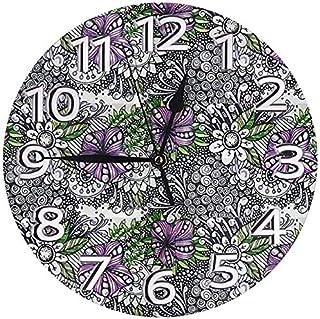 掛け時計 バイオレットゼンタングル 電波掛時計 本体サイズ直径25×0.5cm 電波 アナログ コンパクトサイズレトロ柱時計,デジタル 柱時計
