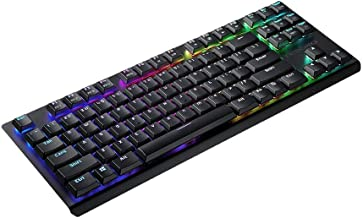 Tesoro Gram Spectrum TKL Low Profile Tenkeyless TS-G11TKL Red Mechanical Switch Single Individual Per Key Full Color RGB LED Backlit Illuminated Mechanical Black Mechanical Keyboard TS-G11TKL B (RD)