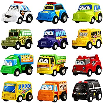 Pull Back Car 12 Pack Assorted Mini Plastic Vehicle Set,Funcorn Toys Pull Back Truck and Car Toys for Boys Kids Toddler Party Favors,Die Cast Car Toy Play Set