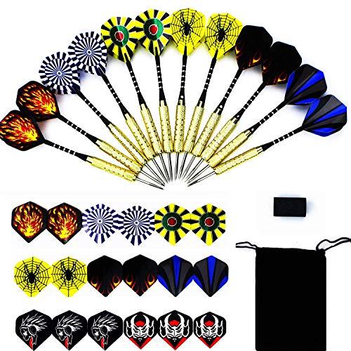 Tikea Dartpfeile Set, 12 Steeldart Pfeile Set mit Metallspitze für Dartscheibe, 30 Dartflights und 18g Steeldarts mit Aluminium Schäfte + Messing Barrel